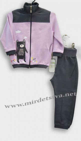 Спортивный костюм для девочки Robinzone КС-192 серо-розовый