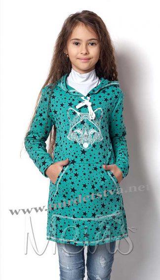 Трикотажная туника для девочки Mevis 1949-02 зеленая