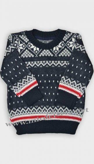 """Вязаный свитер детский Gusenica """"Снежинка"""" темно-синего цвета"""
