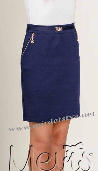 Юбка для девочки Mevis 1930 школьная синяя