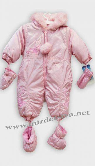Зимний детский комбинезон для девочки Coccobello БЛ-6219 розовый